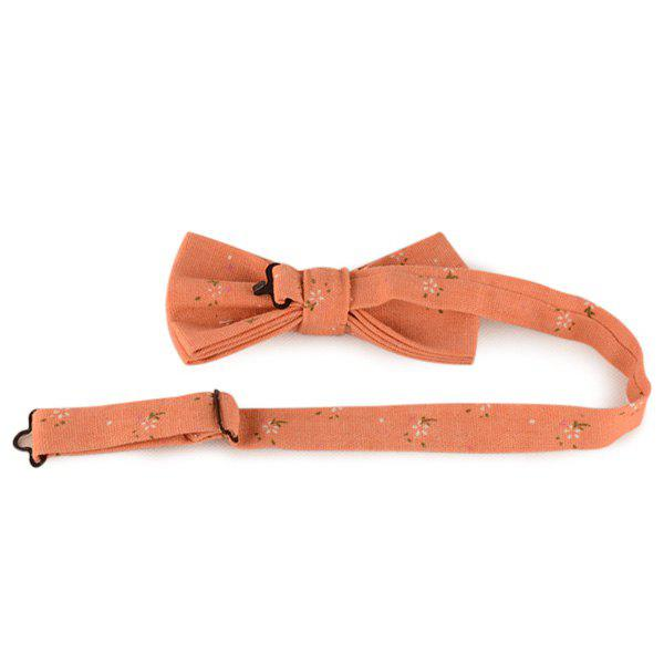 Coton Floral Tiny and Linen Bow Tie - Saumon