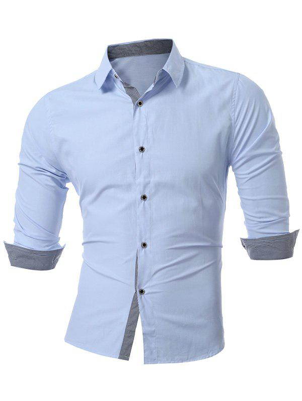 Long Sleeve Button Up Plain Shirt - LIGHT BLUE M