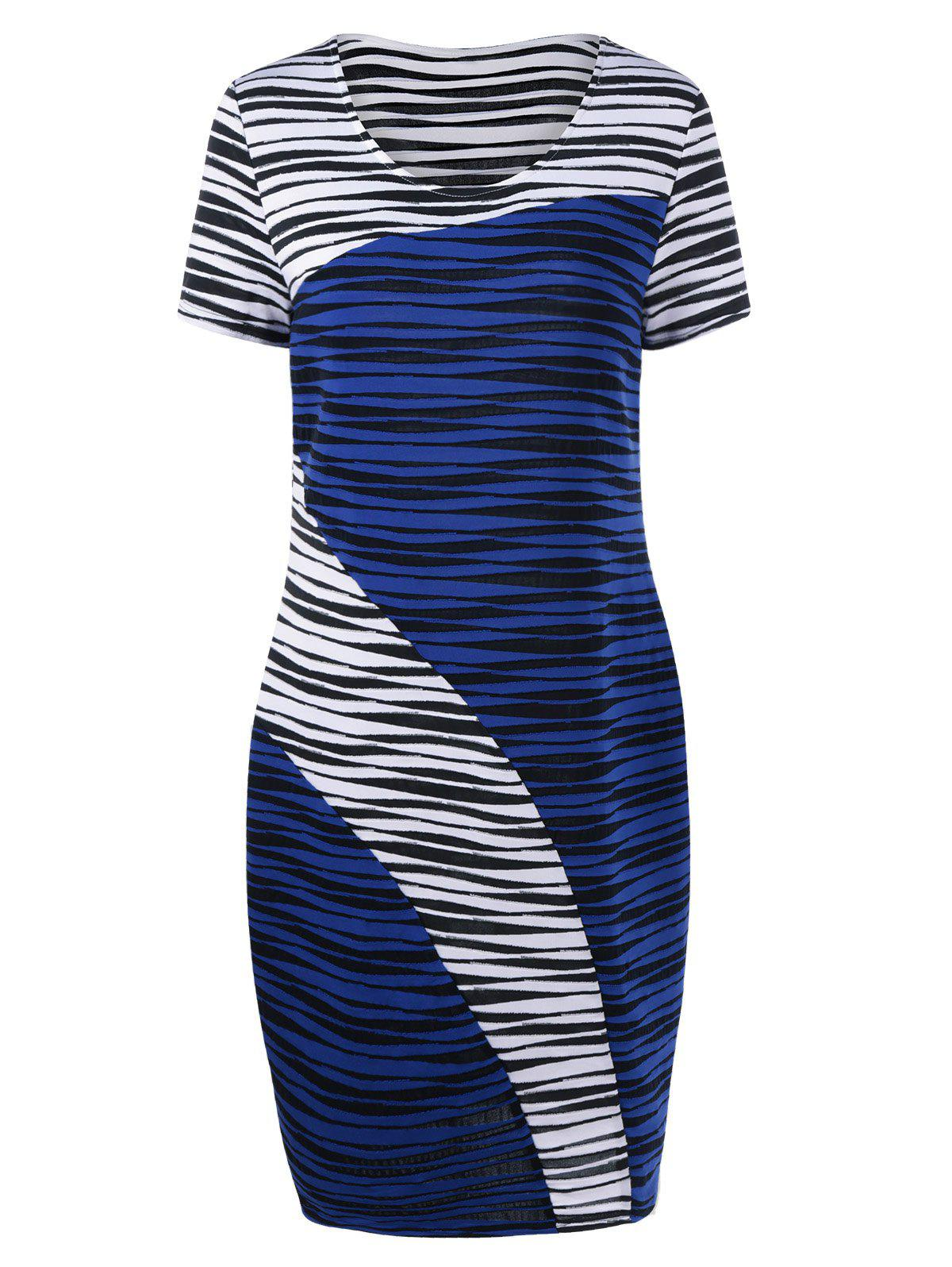 Plus Size Striped Knee Length Tight Dress - BLUE/WHITE 5XL