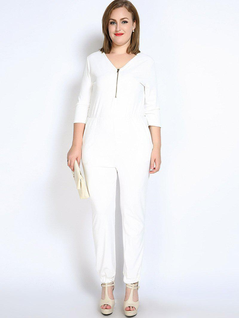2018 front zip v neck plus size jumpsuit white xl in plus size