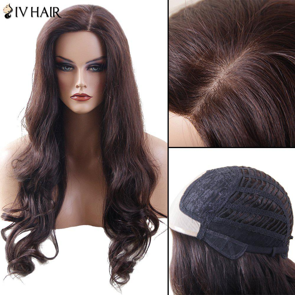 Siv Hair Lace Front Side Part Long Wavy Human Hair Wig - DARK BROWN 32INCH