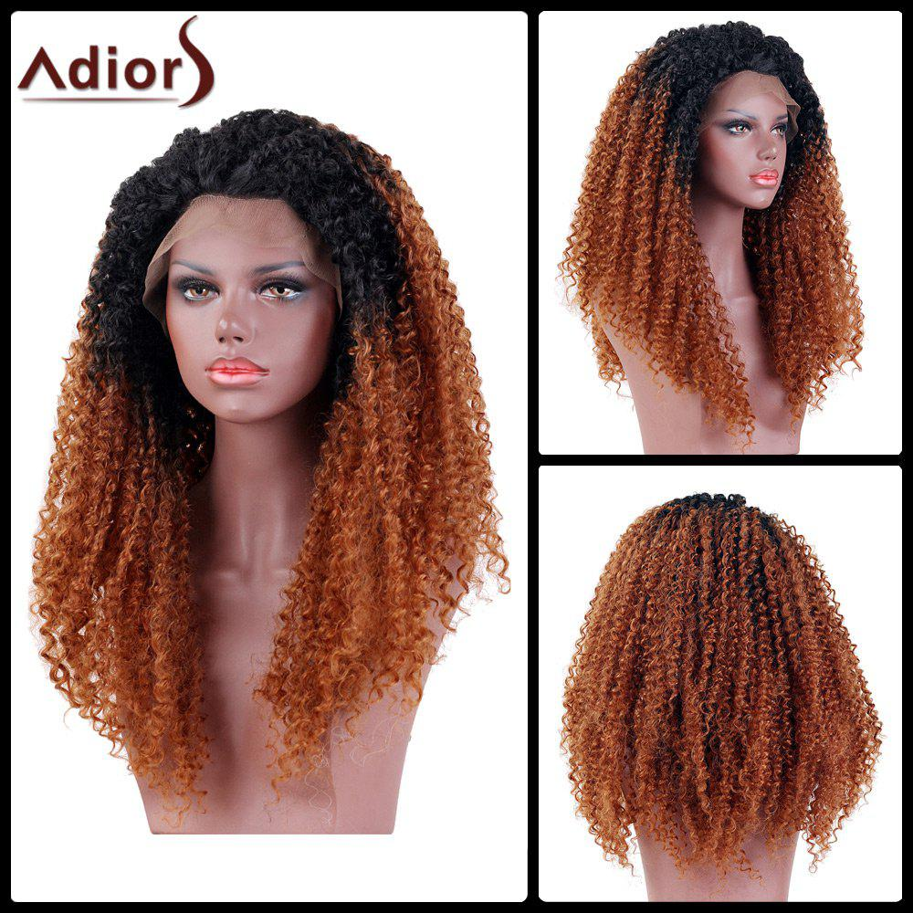 Adiors Long Colormix Side Part Kinky Curly Lace Front Synthetic Wig - BP 18INCH