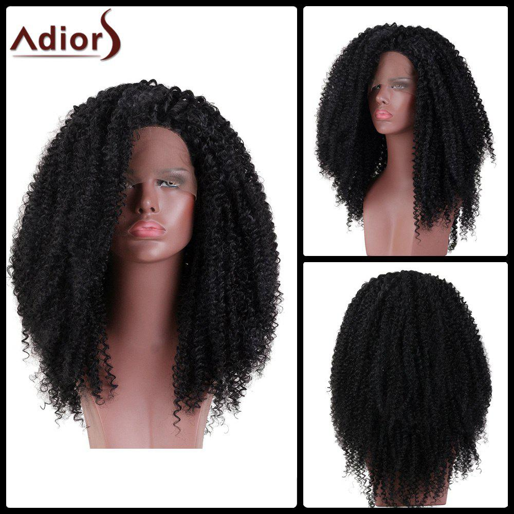 Adiors Long Side Part Kinky Curly Lace Front Synthetic Wig - BLACK 18INCH