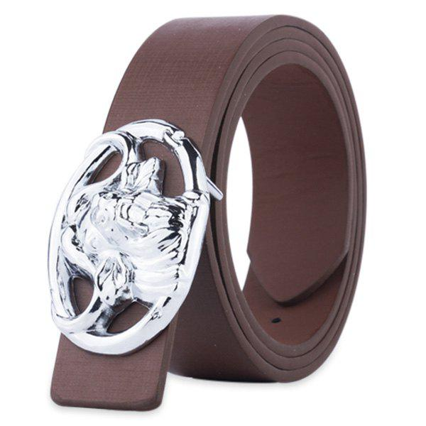 Engraved Buckle Hollow Out Faux Leather Belt - COFFEE