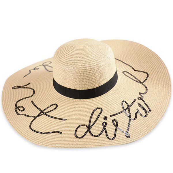 Ribbon Wide Brim Sequins Letters Straw Hat - PALOMINO ONE SIZE