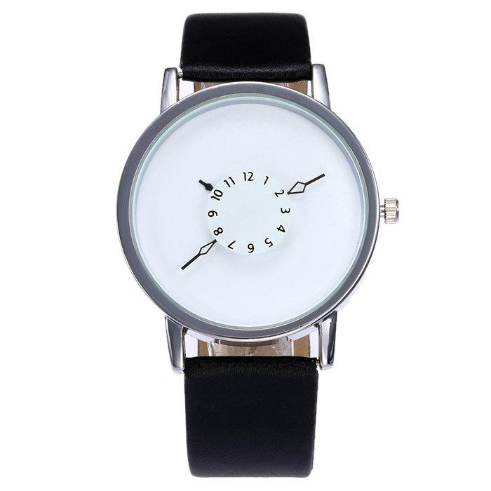 Number Analog Faux Leather Watch - SILVER