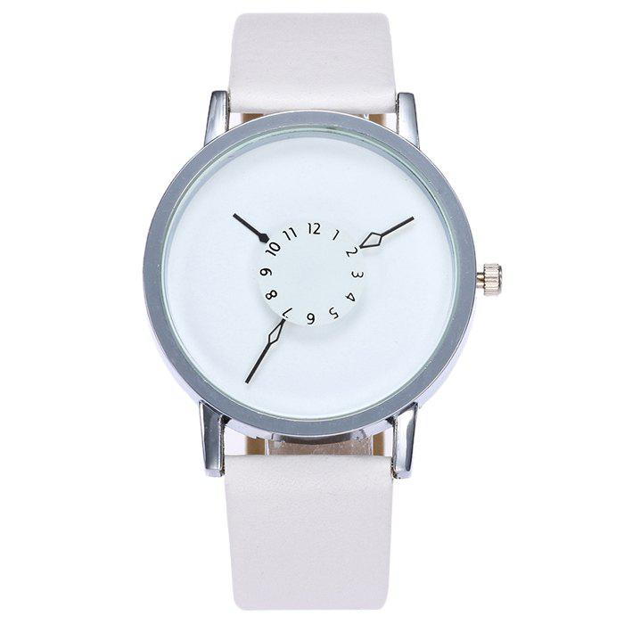 Number Analog Faux Leather Watch - WHITE