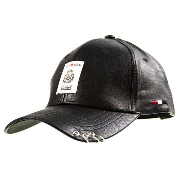 Faux Leather Character Metallic Ring Baseball Hat