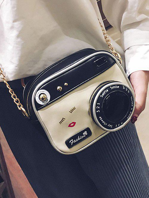 Camera Shaped Cross Body Novelty Bag - WHITE/BLACK