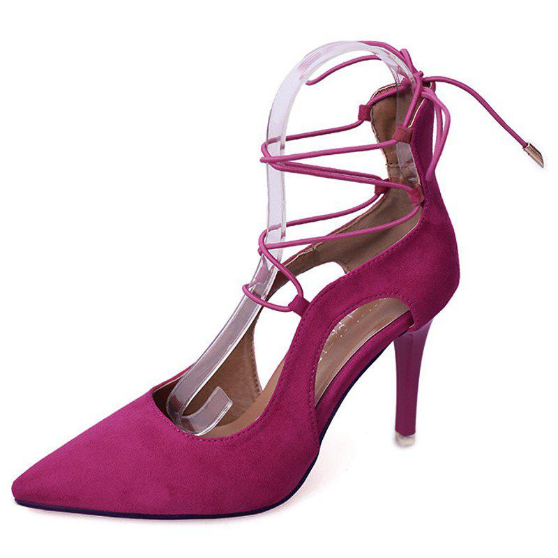 Lace Up Mini Heel Pumps - ROSE RED 37