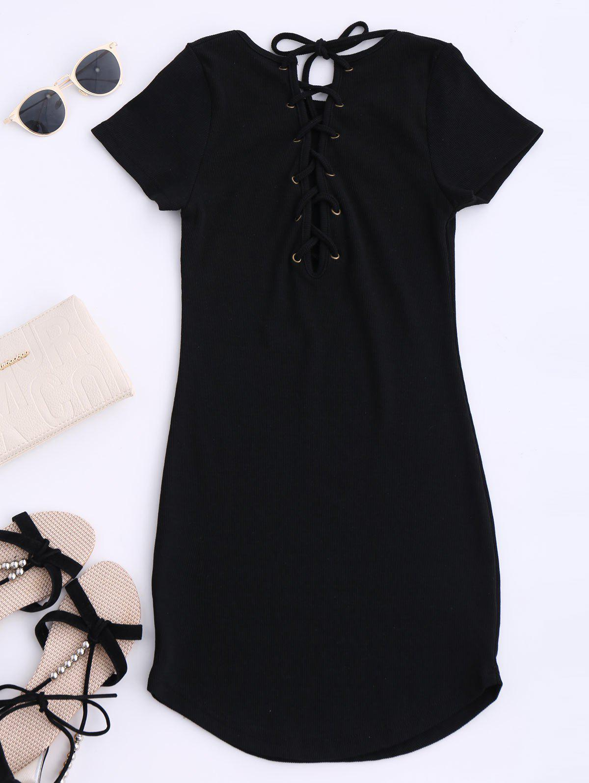 Lace Up Mini Short Sleeve Jumper Dress - BLACK ONE SIZE