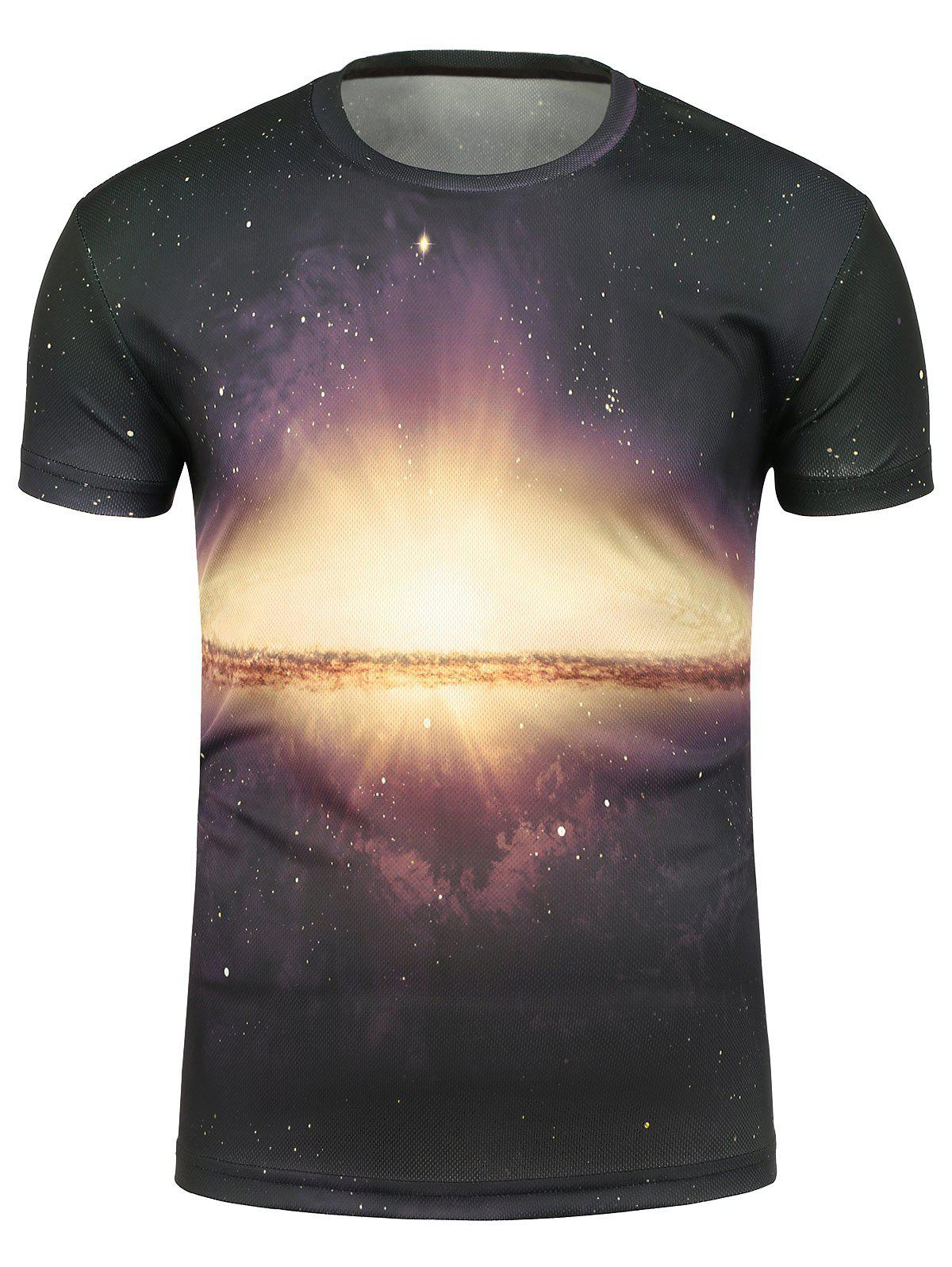 Galaxy sunshine print crew neck t shirt colormix m in t for Galaxy white t shirts wholesale