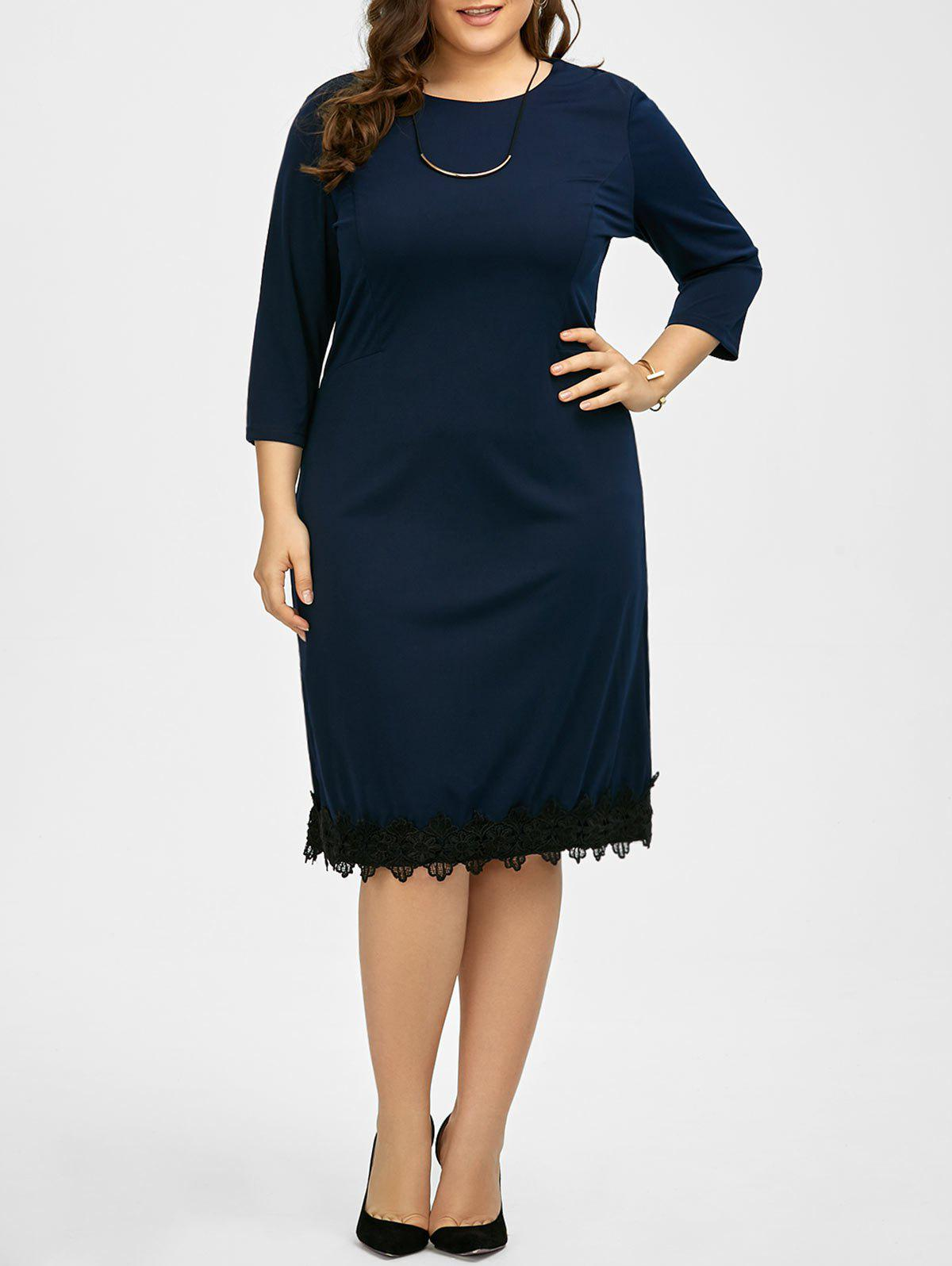 Plus Size Lace Trim Knee Length Work Dress - PURPLISH BLUE 5XL
