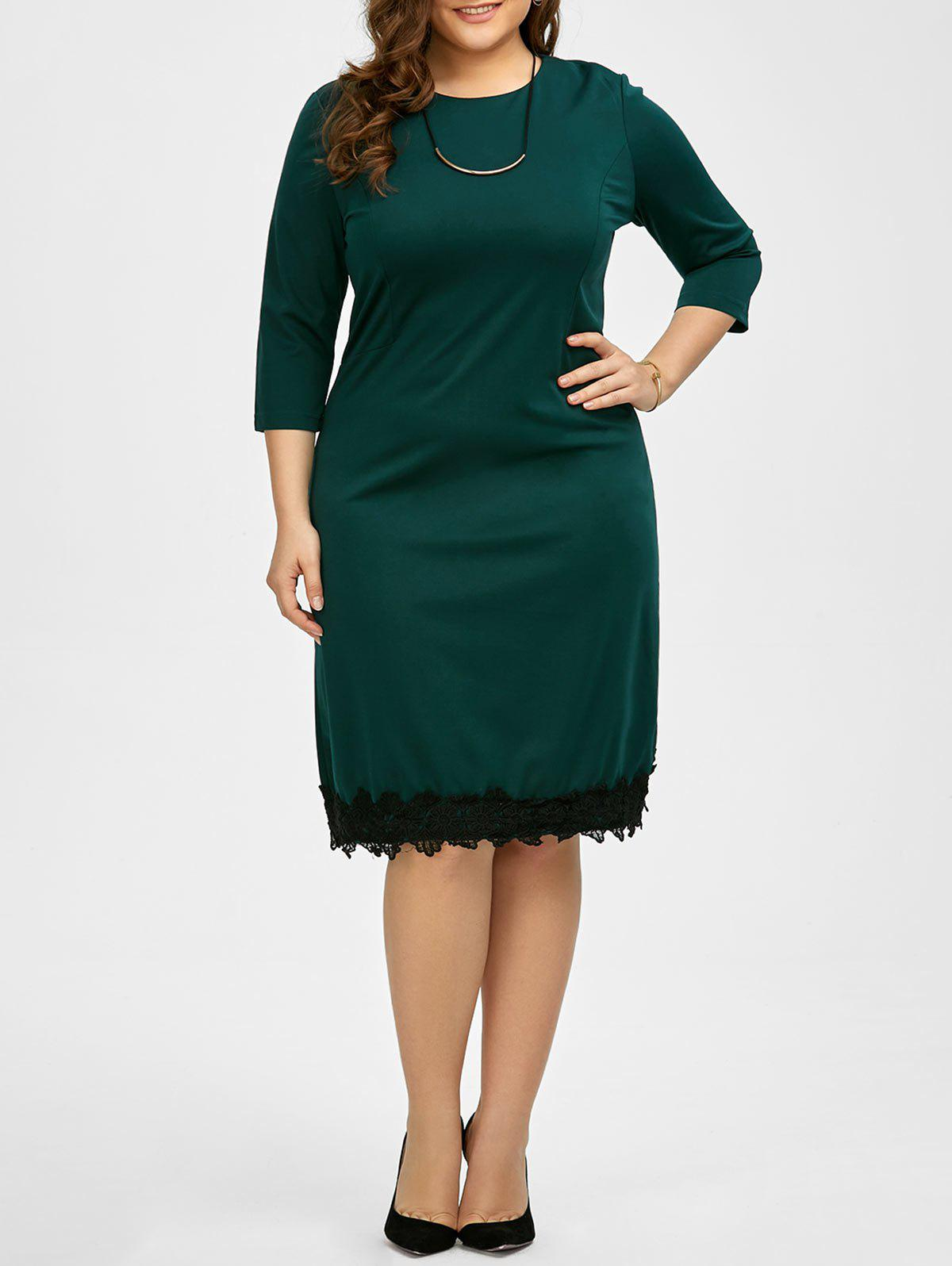 Plus Size Lace Trim Knee Length Work Dress - BLACKISH GREEN 2XL