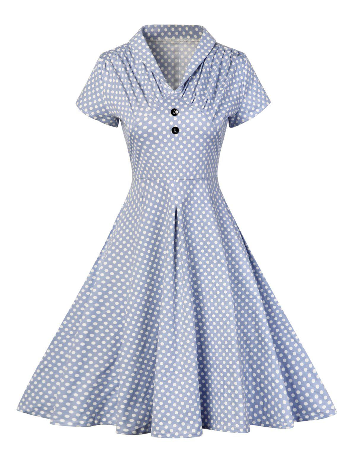 Buttoned Polka Dot V Neck Skater Dress - BLUE M