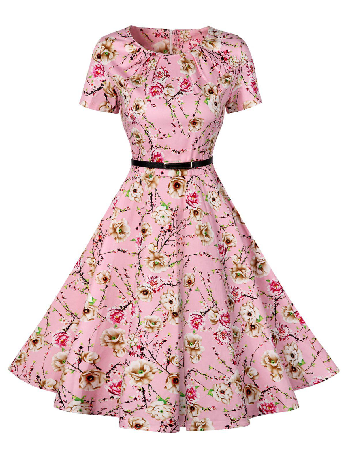 Retro Pin Up Dress - ROSE PÂLE XL