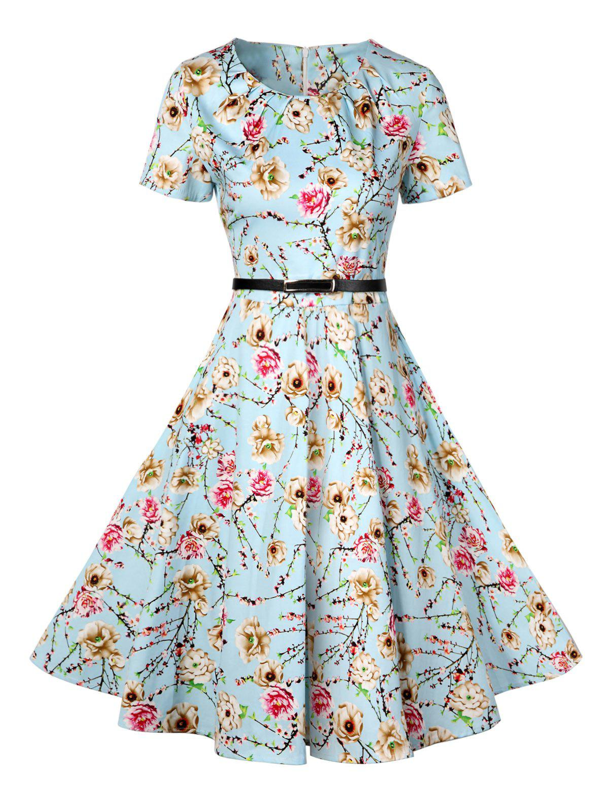 Retro Pin Up Dress - Azur XL