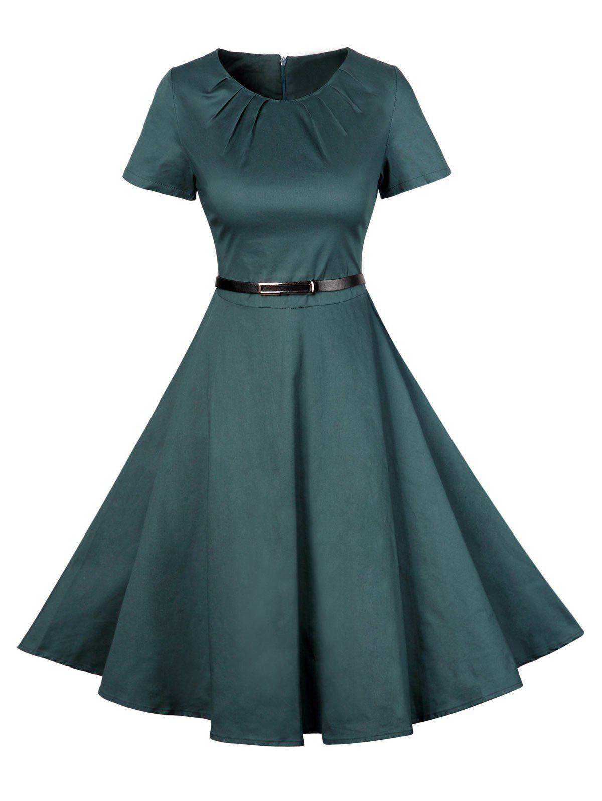 Vintage manches courtes Pin Up Dress - Vert XL