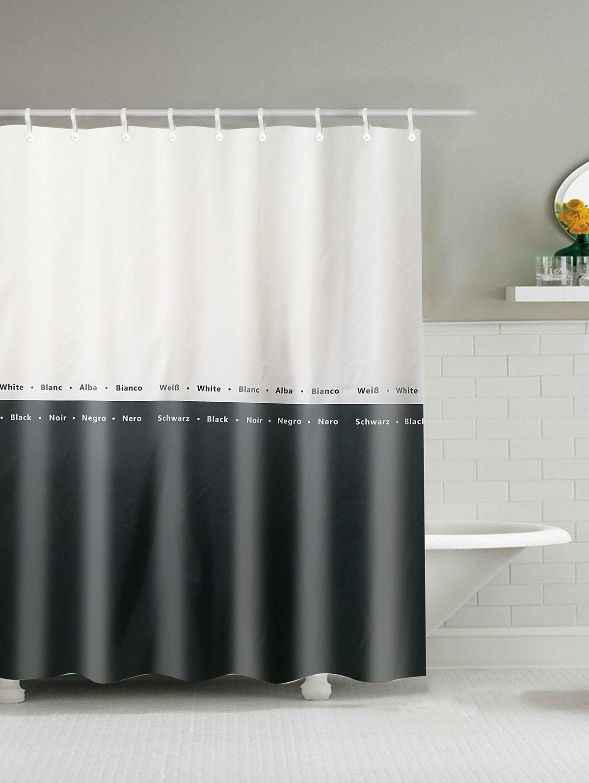 2018 Two Tone Water Resistant Polyester Shower Curtain WHITE/BLACK ...