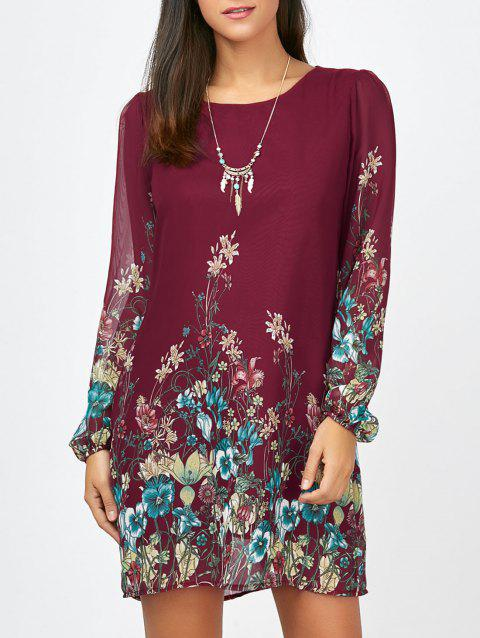 Floral Long Sleeve Chiffon Short Shift Casual Dress - WINE RED M