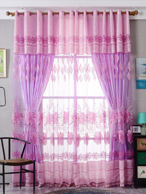 Flower Embroidery Sheer Fabric Tulle with Pendant Decor - PINK W39 INCH*L98 INCH