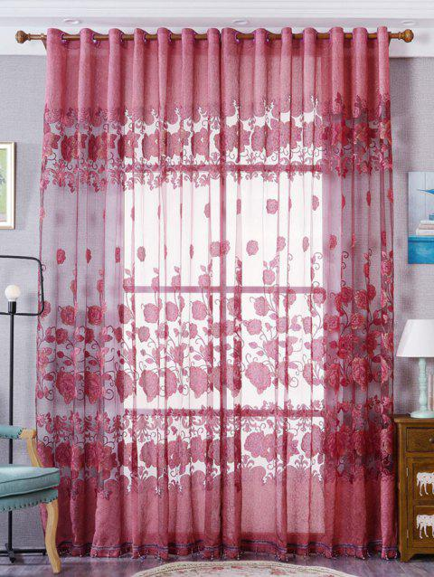 Window Screen Sheer Flower Tulle Curtain For Living Room - RED W39 INCH*L79 INCH