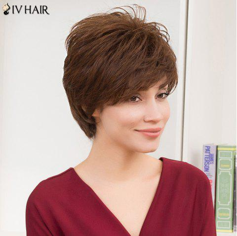Siv Hair Short Straight Layered Cut Side Bang Human Hair Wig - COLORMIX
