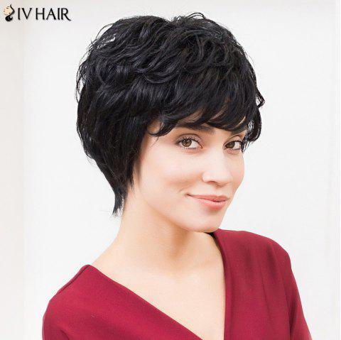 Siv Hair Short Layered Cut Sided Bang Fluffy Human Hair Wig - JET BLACK 01