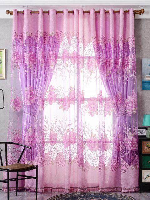 Flower Embroidered Sheer Window Tulle For Living Room - PINK W39 INCH*L98 INCH