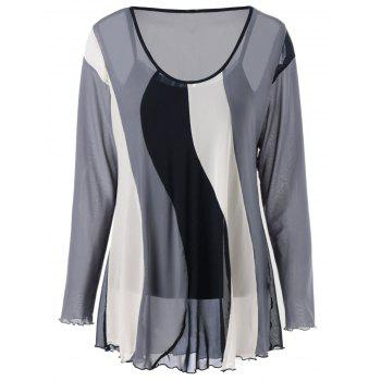 Frilled Color Block Blouse With Tank Top