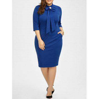 Plus Size Slit Knee Length Sheath Dress