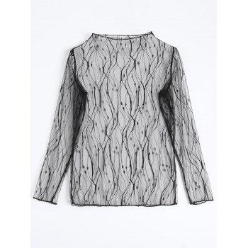 Lace Fishnet Sheer Long Sleeve Top