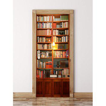 3D Wooden Bookshelf Door Wall Sticker