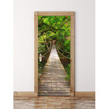 3D Wooden Bridge in Deep Forest Door Wall Sticker