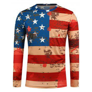 Long Sleeve American Flag Printed T-Shirt