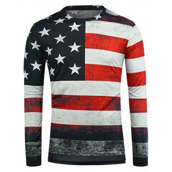 American Flag Print Long Sleeve T-Shirt