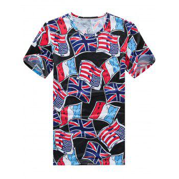 Short Sleeved Flag Print T-Shirt