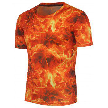 3D Fire Printed Crew Neck T-Shirt