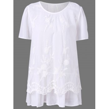 Plus Size Layered Lace Trim Blouse