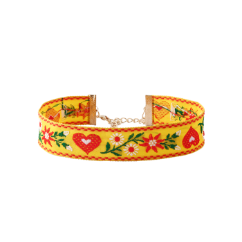 Flower Heart Embroidered Choker Necklace