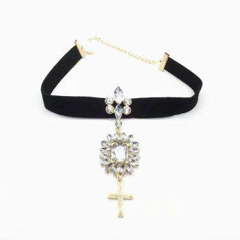 Faux Gem Crucifix Velvet Choker Necklace