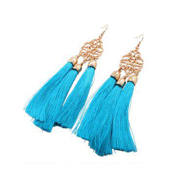 Alloy Engraved Tassel Earrings - BLUE