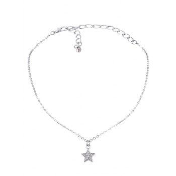 Rhinestone Star Lace Choker Necklace Set - WHITE