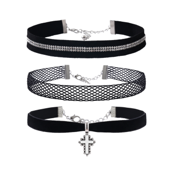 Rhinestone Crucifix Velvet Choker Necklace Set