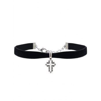 Rhinestone Crucifix Velvet Choker Necklace Set - BLACK