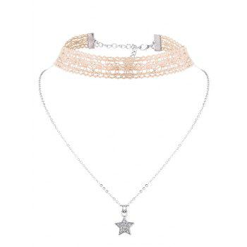 Star Flower Choker Necklace Set -  OFF WHITE