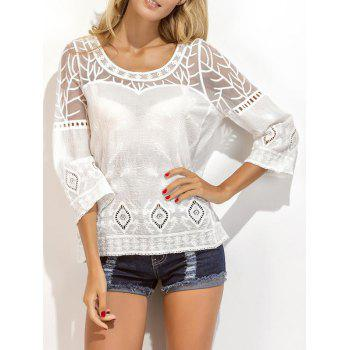 Embroidered Crochet Eyelet Lace Panel Blouse