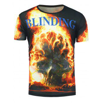 Short Sleeve 3D Flame Skull Print T-Shirt