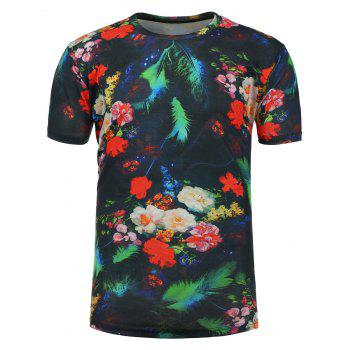 3D Floral Feather Number Print T-Shirt