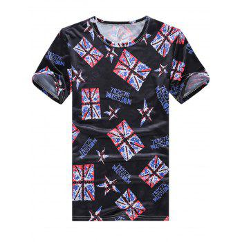 Flag Star Print Stretch T-Shirt